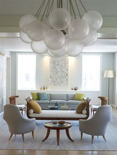 2Michaels Design - Interior Designer - New York - Contemporary - Eclectic - Neoclassical - Swedish - Living Room - White - Blue - Fresh - Rug - Upholstered Chair - Daybed - Frame - Art - Gallery - Display - Balloon Chandelier