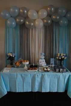 Baby Shower or bday: Balloons & Streamers Backdrop! Saving all the pink and purp… Baby Shower or bday: Balloons & Streamers Backdrop! Saving all the pink and purple ballons from my sons bday for this Party Kulissen, Baby Party, Shower Party, Baby Shower Parties, Baby Shower Themes, Ideas Party, Fun Ideas, Baby Shower Ideas For Boys Decorations, Boy Babyshower Decorations