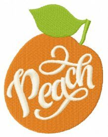 Peach machine embroidery design. Machine embroidery design. www.embroideres.com
