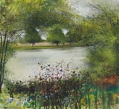 Iffley, Isis. Spring greens and an empty river. May 2013 in KURT JACKSON from The Redfern Gallery, The Thames Revisited Exhibition, January 2014