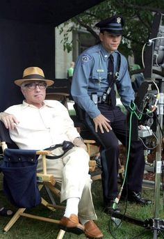 The Departed - Martin Scorsese and Matt Damon chillin' on the set #GangsterFlick