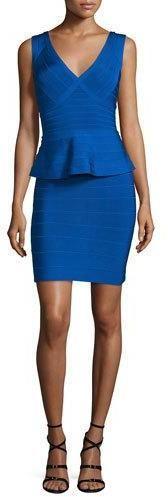 Herve Leger Sleeveless V-Neck Peplum Bandage Dress, Bright Blue