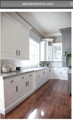 Love the wood, grey & white! Kitchen Counter idea