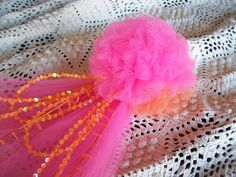 Hot Pink and Orange Tulle Pew Bow with Sequins and Beads $11.50