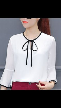 New Model Lady White Chiffon Blouses Size Black Lace Decor Red Color Elega. - Meredith Harrison - - New Model Lady White Chiffon Blouses Size Black Lace Decor Red Color Elega. Blouse Styles, Blouse Designs, White Chiffon Blouse, Chiffon Shirt, Lace Decor, Elegant Woman, White Women, African Fashion, Designer Dresses