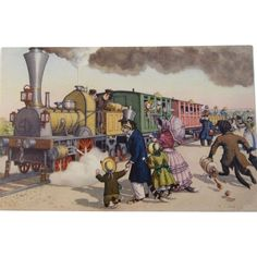 Alfred Mainzer Dressed Cats Postcard Max Kunzli Illustrated Zurich, Switzerland Cats Boarding a Train