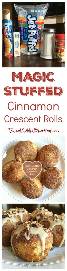 "MAGIC STUFFED CINNAMON CRESCENT ROLLS Simple to make, so good! A fun activity for kids. The marshmallows in the middle of the rolls melt away, ""magically disappearing"" leaving a yummy, ooey gooey center! These are better eaten same day. Crescent Roll Recipes, Crescent Rolls, Delicious Desserts, Dessert Recipes, Yummy Food, Breakfast Recipes, Muffins, Crockpot, Resurrection Rolls"