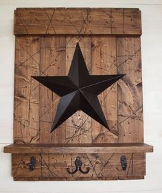 Rustic Country Brown Wood Shelf w/ Hooks Black Barn Star Distressed Handmade in Home Garden, Home Décor, Wall Shelves Country Crafts, Country Decor, Rustic Decor, Farmhouse Decor, Rustic Charm, Primitive Crafts, Country Primitive, Wood Crafts, Black Barn