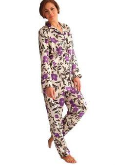 Jessica London Plus Size 2-Piece Satin Pjs By Amoureuse Ivory Purple Floral,L Jessica London. $22.49
