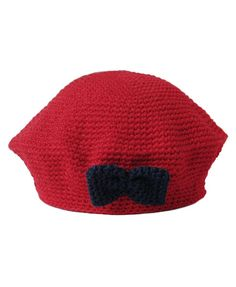 Red Knit Beret with Navy Bow Detail