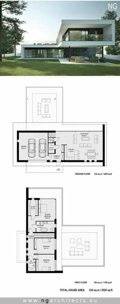 Astonishing Diy Ideas: Contemporary Home With Courtyard contemporary villa exterior.Indian Contemporary House contemporary interior home. Modern Architecture House, Architecture Plan, Landscape Architecture, Modern Villa Design, Modern House Plans, House Layouts, Contemporary Decor, Contemporary Cottage, Contemporary Wallpaper