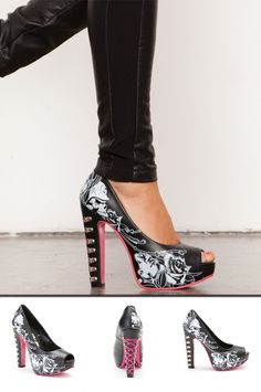 Metal Mulisha Maidens Heartbreaker Pumps. Black, white, and pink heels.