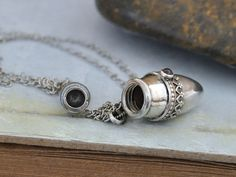 sterling silver container necklace pill box tube locket red