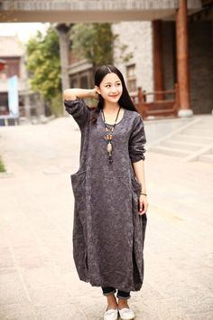 Linnen jurk katoenen jurk Maxi dress Casual losse lange door Luckywu