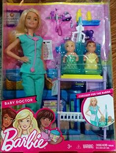 Barbie has a great career...as a baby doctor! This set includes two 'babies' one blonde and one African American. Barbie listens to their hears with a stethoscope and looks at babies bones using x-ra...