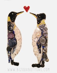 Bijoux Buttons Penguin Button Art Swarovski Rhinestones, Unique Gifts