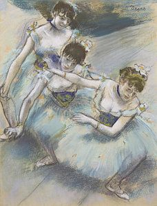 Degas Drawing - Three Dancers In A Diagonal Line On The Stage by Edgar Degas