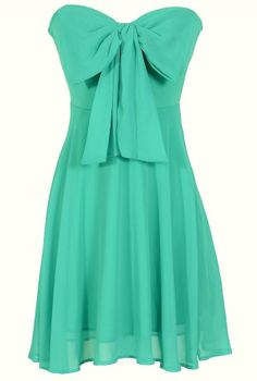 Oversized Bow Chiffon Dress in Teal  www.lilyboutique.com