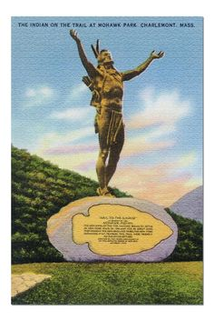 Berkshire Mountains, MA - Indian on the Trail Statue at Mohawk Park View Premium 1000 Piece Jigsaw Puzzle, Made in USA! Mohawks, Vivid Imagery, Beautiful Posters, Printing Press, Large Art, 1000 Piece Jigsaw Puzzles, Home Art, Digital Prints, Trail