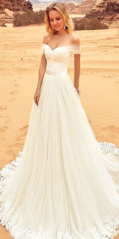 Simple Wedding Dresses For Elegant Brides ❤️ See more: http://www.weddingforward.com/simple-wedding-dresses/ #weddings