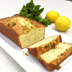 Bright, tart and refreshing fresh lemon cake with fresh mint, dusted lightly with pistachios. The perfect summery dessert, gluten free or not! Gluten and dairy free - Tali's Artisanal - Gluten Free Desserts