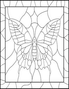 Butterfly Stained Glass Adult Coloring Pages by Joenay Inspirations