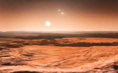 This artist%u2019s impression shows the view from the exoplanet Gliese 667Cd looking towards the planet%u2019s parent star (Gliese 667C). Image released on June 25, 2013.