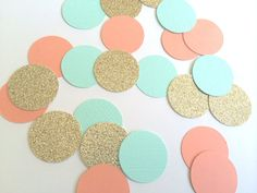 CORAL, GOLD, TURQUOISE Glitter Confetti. Circle Confetti for Weddings, Table…