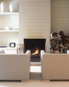 another wood clad fireplace