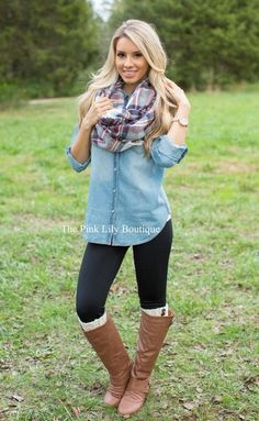 Chambray blouse, leggings and boots! We love this outfit for fall.