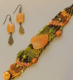 Free Form Peyote Stitch Beaded Bracelet Beaded Earrings - Radiate - Bead Weaving - Red Creek Jasper by CheriCMeyer on Etsy
