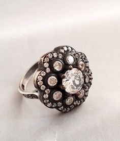 Sterling Silver Ring , Silver Ring , Diamond Cutting Zircon Ring , Black Rhodium Ring, Rose Silver Plate Ring by Rosestyle on Etsy