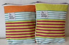 Zipper pouch/toiletry bag made of fabric by ReDesignandReCycled, kr80.00