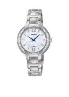 Seiko  Womens Silver-Tone Diamond Accent Solar Watch