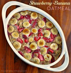 Strawberry banana baked oatmeal--MADE IT--Used mixed, frozen berries.  Good recipe!  Easy and quick--took 5 minutes to mix it up, then it baked for 30 while I cooked the rest of the meal.  Do not double sugar.