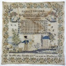 Sampler, by Mary Ingersoll, 1830, Pound Ridge, NY. From the collections of the National Museum of American History/Smithsonian Institution