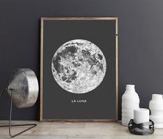 Full Moon Poster - PRINTABLE FILE. La Luna Moon Poster. Lunar Moon Print. Vintage Luna Print. Solar System Art. Celestial Dorm Room Art. by ILKADesign on Etsy https://www.etsy.com/listing/261099917/full-moon-poster-printable-file-la-luna