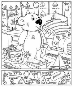 View and print this Hidden Pictures Baby Bear. Get your free Hidden Pictures pages at All Kids Network Hidden Object Puzzles, Hidden Picture Puzzles, Hidden Objects, Online Coloring Pages, Free Coloring Pages, Printable Coloring, Hidden Pictures Printables, Hidden Images, Bear Pictures