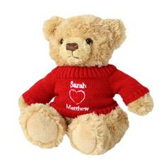 www.hastings-crystal.co.uk >> Gift By Recipient >> Wife >> Personalised Love Heart Teddy Bear