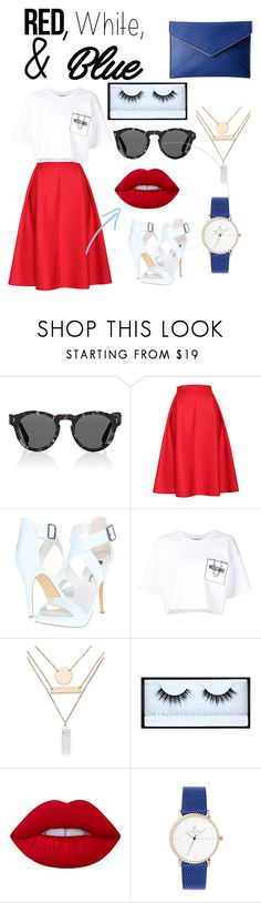 """""""Red, White and Blue"""" by cagbsjiom ❤ liked on Polyvore featuring Illesteva, Relaxfeel, Michael Antonio, Moschino, Jules Smith, Huda Beauty, Lime Crime, Rebecca Minkoff, redwhiteandblue and july4th"""