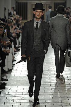10. Hackett London Men's RTW Fall 2013 - inspired by men's Edwardian morning coat and vest, bowler hat