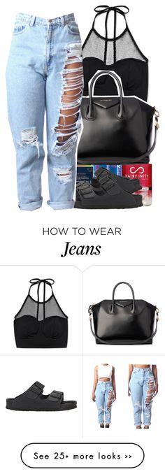 Black Halter Top, Lightwash Distressed Jeans, Black Birkenstocks, Black Handbag.
