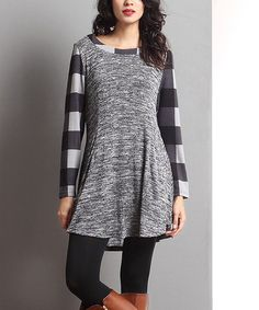 Look at this #zulilyfind! Charcoal Mixed-Media Pocket Tunic #zulilyfinds