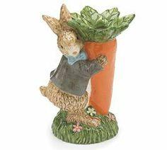 Adorable Tan Bunny Rabbit & Carrot Vase Easter Raised Ceramic Hand Painted by Burton & Burton. $18.15