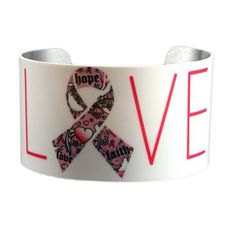 HOPE, LOVE, FAITH, PINK RIBBON BRACELET/CUFF A spunky accessory can take outfits from fashionable to phenomenal! As practical as it is pretty, this cuff breathes extra style into ensembles thanks to a luxe bracelet and trend-savvy pink ribbon motif.    Aluminum Cuff Adjustable 1.75'' x 8'' circumference  Made in the USA Katydid Collection Jewelry Bracelets