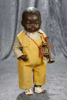 bisque model no. 351 toddler doll, with inset glass eyes, dark skinned version of what is perhaps best-known as among the My Dream Baby head molds, Germany, by Armand Marseille. Old Dolls, Antique Dolls, Vintage Dolls, African American Dolls, African American History, Black Queen, Black Characters, Dream Baby, Bear Doll