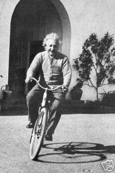 Albert Einstein Riding Bicycle vintage print