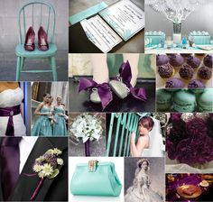 teal and purple wedding idea