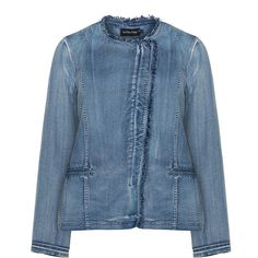 Jean Marc Philippe Blue Plus Size Distressed denim jacket ($200) ❤ liked on Polyvore featuring outerwear, jackets, blue, plus size, distressed denim jacket, blue jackets, denim jacket, fringe jean jacket and zip jacket