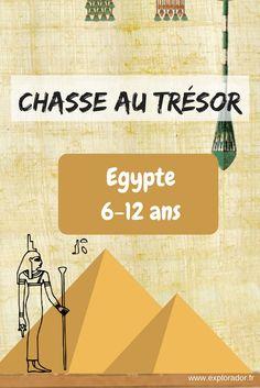 Chasse au trésor sur l'Egypte d'une durée de 1 à 2h selon l'âge. Enigmes personnalisables et jeux thématiques. Fichier téléchargeable immédiatement.